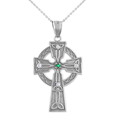 925 Sterling Silver Celtic Trinity Diamond Cross Pendant Necklace with Emerald, 22'
