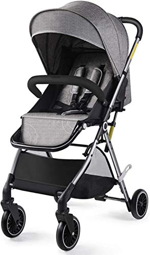 Baby carriage Hot Mom Pushchair,Kompakter Reisekinderwagen,Geländegängiger Vierradkinderwagen,Ab Geburt Bis 25 Kg Kinderwagen,Zusammenklappbar,Mit Uv-Schutz/Großem Ablagekorb, Grau