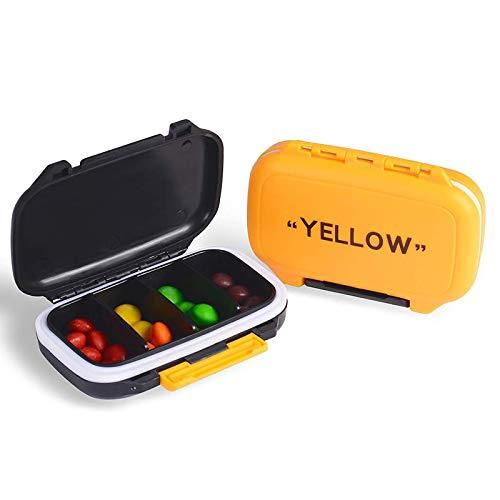 YNester 2 Pack Portapillole Pill Pilles, Fashion Pill Organizer Pillola da viaggio Case Medical Pill Box Dispenser per Vitamine Integratori Medicina Box - 4 scomparti rimovibili (Giallo + Nero)