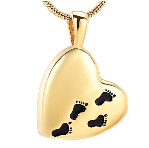Wxcvz Colgante Cenizas Medallón De Cenizas Colgante De Pies De Bebé Collar De Ceniza De Cremación-Joyería De Cremación De Acero Inoxidable Unisex