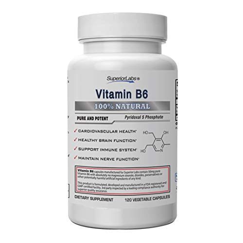 Superior Labs — Best Vitamin B6 Dietary Supplement — 50 mg Dosage ,120 Vegetable Capsules —Supports Immune System Health — Healthy Brain Function — Cardiovascular Health Support