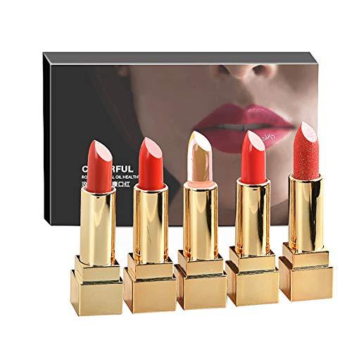 Rouge à Lèvres hydratant Longue durée, Coffrets Cadeaux de Rouge à lèvres Rouge Doux et Lisse pour Femmes, 5 Packs