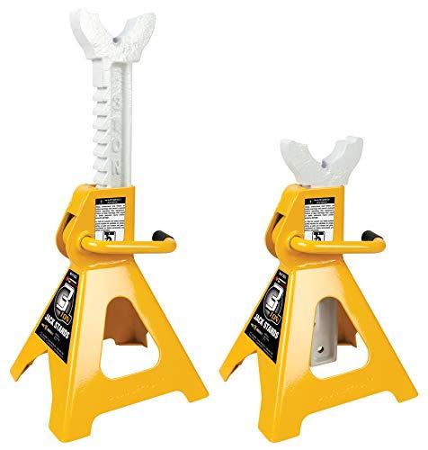 "Performance Tool 3 Ton (6,000 lbs.) Capacity Heavy Duty Jack Stand Set, W41022 | Lift Range: 11-1/4"" to 16-3/4"", Yellow"