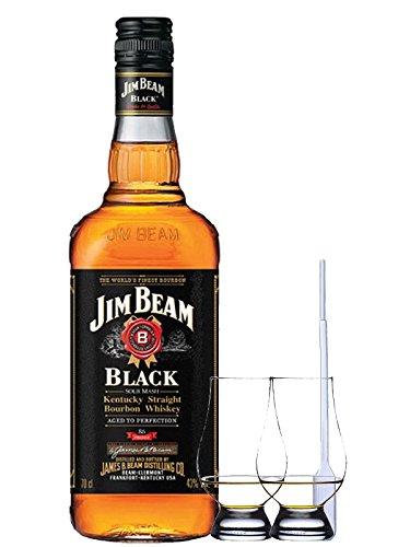 Jim Beam Black Label Whisky 0,7 Liter + 2 Glencairn Gläser und Einwegpipette