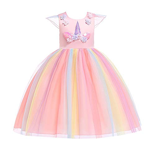 Jian E & kostuums voor kinderen kleding Unicorns Rainbow Dress Stage Performance Princess Dress