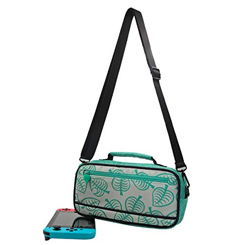 Tragetasche für Nintendo Switch Tragbare Reisetasche Leaf Crossing Hard Shell Protector für NS Konsole und Zubehör mit 10 Spielkartensteckplätzen und Innentasche