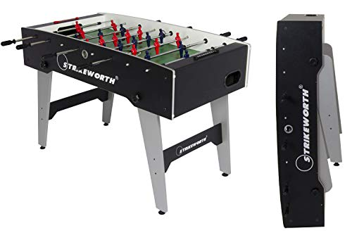 Strikeworth Free Kick Folding Football Table (Black/Silver)