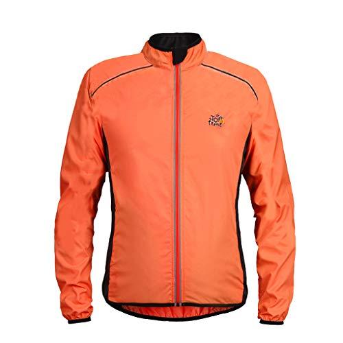 MAYOGO Herren Trainingsjacke Mens Light Jacket Laufen Sportjacke Sweatjacke Softshelljacke Freizeitjacke Funktionsjacke, wasserdichte und Winddichte (Orange, M)