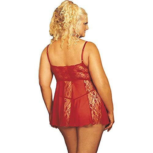 Shirley of Hollywood número 96120 - Muñeca de encaje elástico y red transparente, talla Queen, color rojo