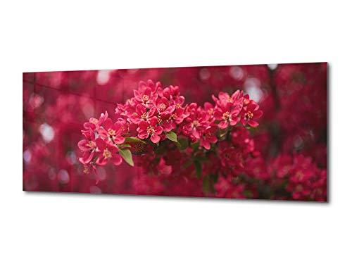 Concept Crystal Tableau sur Toile Art Mural en Verre - Image sur Verre - Disponible en 5 Tailles différentes – Série de Fleurs et de Feuilles 03