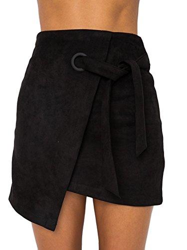 Melegant Damen Herbst Asymmetrischer Rock Mini Leder High Waist Eng Skrit mit Schlitz Winter Schwarz