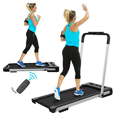 FYC 2 in 1 Folding Treadmill for Home Under Desk Electric Treadmill Workout Foldable Running Machine Portable Compact Treadmill for Running and Walking Exercise Home Gym, Installation-Free (JK31-8) Treadmills
