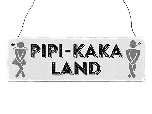 Interluxe Holzschild - PIPI Kaka Land - Türschild für Toilette, WC, Badezimmer oder Gäste WC, Partyschild witziges Einzugsgeschenk