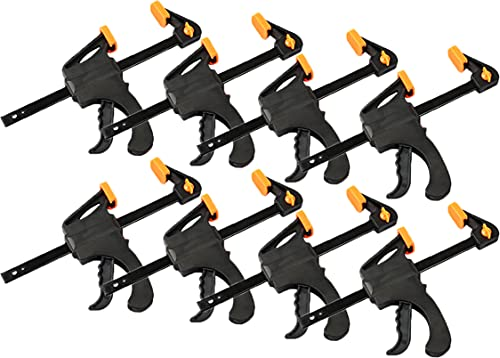 Black Duck Brand 4-Inch Ratchet Bar Clamp / 8-Inch Spreader for Photography, Woodworking, Crafts, and More! (8 Pack)