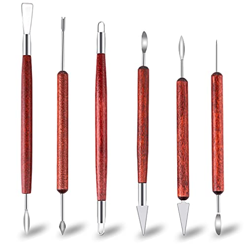Clay Sculpting Tools, 6-Piece Pottery Tools Set, Polymer Clay Tools with Wooden Handle Double-Sided, Clay Sculpting Tools for Smoothing, Sculpture & Ceramics Making
