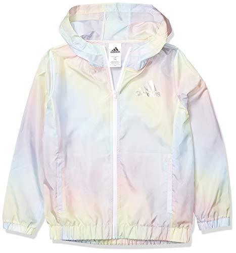 addias Girls' Big Lightweight Windbreaker Jacket, Iridescence Print Blue, Small