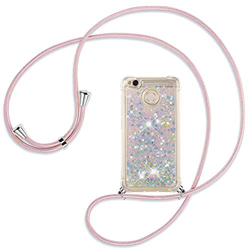 Ptny Case Funda Colgante movil con Cuerda para Colgar Xiaomi Redmi 4X Carcasa Correa Transparente de TPU con Cordon para Llevar en el Cuello con Ajustable Collar Cadena Cordón, Oro Rosa