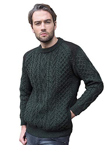 Aran Crafts Men's Irish Cable Knitted Wool Crew Neck with Tweed (T24-XL-AGRE) Army Green