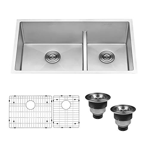 Ruvati 33-inch Low-Divide Undermount Tight Radius 60/40 Double Bowl 16 Gauge Stainless Steel Kitchen...