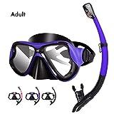 Kuyou Snorkel Set Adults, Anti-Fog Dry Snorkel Set,Tempered Glass Scuba Diving Mask, Panoramic
