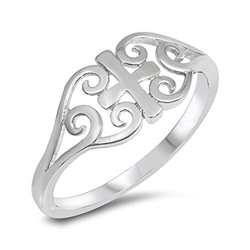 High Polish Celtic Heart Cross Filigree Ring 925 Sterling Silver Band Size 8