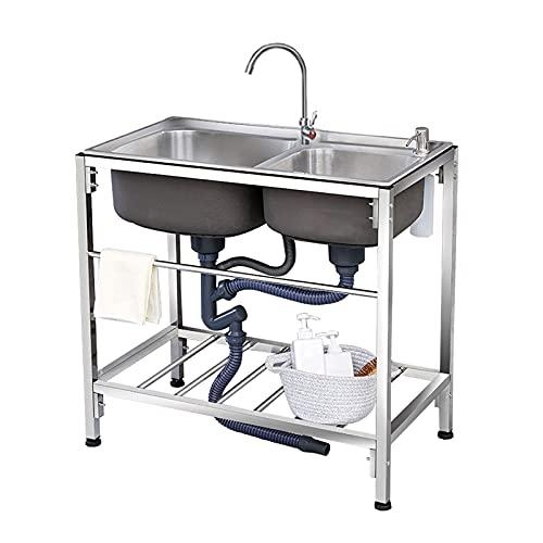 HYDL Organizador Fregadero Cocina, Fregadero de cocina con pedestal y fregadero de 2 compartimentos, fregaderos comerciales de acero inoxidable de dos senos con soporte
