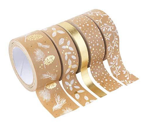 Rubans adhésifs décoratifs Washi Tape - Or/Blanc