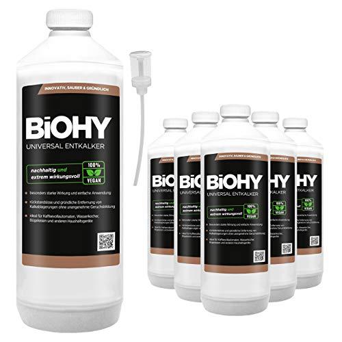 BIOHY universele vloeibare ontkalker 6 x 1 liter flessen + doseerder, concentraat voor ca. 20 ontkalkingsprocessen | voor alle koffieautomaten, espresso- en koffiezetapparaten, zoals Delonghi, Saeco, Philips.