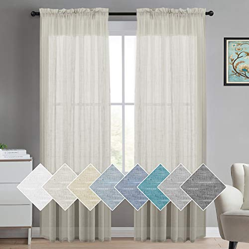 """Window Treatments Linen Curtain Panels for Windows 96 Inches Long Linen Textured Sheer Curtains, Ultra Elegant Natural Linen Curtains Semi Sheer Curtains for Living Room 52"""" W by 96"""" L, Natural"""