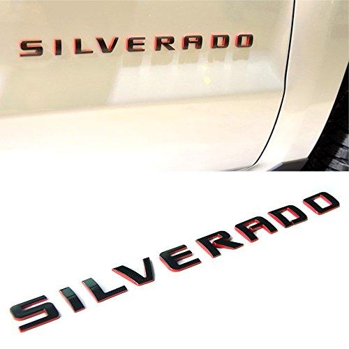 2x OEM Black SILVERADO Nameplate Emblem Badges letter 2500HD 1500 3500 W Glossy
