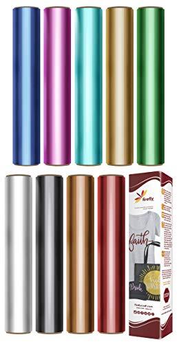 Firefly Craft Elastic Foil Heat Transfer Vinyl Bundle | Metallic HTV Vinyl Bundle | Iron On Vinyl for Cricut and Silhouette | Pack of 9 Colors of Heat Transfer Foil Vinyl - 12 x 20 Each