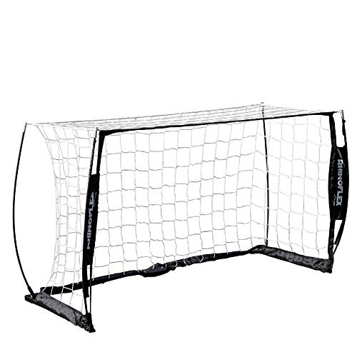 Champion Sports Portable Soccer Goal: Rhino Flex Youth Soccer Goal Net with White Netting, Black Frame, Ground Stakes and Carry Bag - 3' x 5'