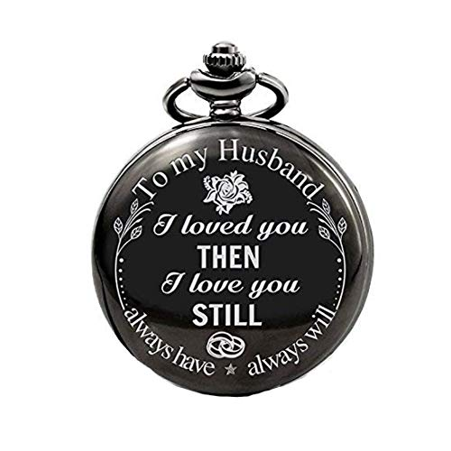 Yellow Chimes Pocket Watch Pendant with Chain for Husband Unique Memorable Gift Dual Purpose Stainless Steel Clock for Men