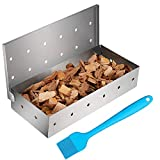 Cosumina Stainless Steel BBQ Smoker Box for Grilling Barbecue Wood Chips On Gas Grill or Charcoal Grill Grilling Accessories with Basting Brush