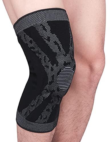 Rodilleras unisex con anillo de silicona, rodilleras flexibles, vendaje deportivo para mujer y hombre, soporte para rótula, color gris, XL