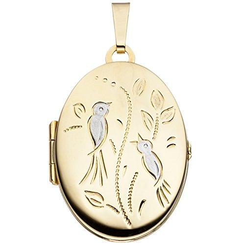 JOBO Damen-Medaillon aus 333 Gold Oval zum Öffnen für 2 Fotos