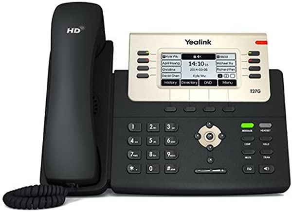 Yealink SIP T27G IP Phone 6 Lines 3 66 Inch Graphical Display USB 2 0 Dual Port Gigabit Ethernet 802 3af PoE Power Adapter Not Included Renewed
