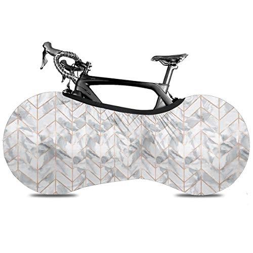 Cubierta de la bicicleta de béisbol de Mericano portátil para interior antipolvo de alta elasticidad de la rueda de la cubierta protectora de la bicicleta Rip Stop de neumáticos de carretera MTb bolsa de almacenamiento, Diseño de espiga de mármol oro rosa dorado., talla única