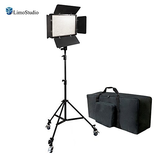 LimoStudio Dimmable 500 LED Photography Photo Video Light Panel LED Lighting Kit with 3 Pcs Caster Wheels for Photo Video Studio, AGG1223V2