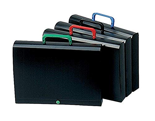 Elba Valisette de rangement avec Poignée Dos 40 mm en polypropylène opaque ultra résistant 32 x 24 cm Noir/rouge/Noir/Bleu/Noir/Vert/ Noir/Noir