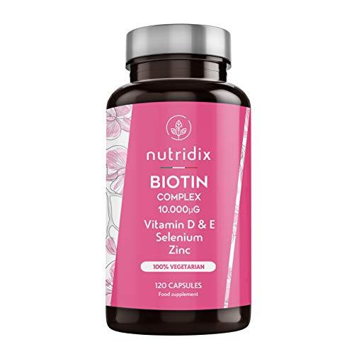 Biotina 10.000 mcg por dosis - Crecimiento del Cabello y Mantenimiento de Uñas - Biotina con Zinc, Selenio, Vitaminas D y E - 120 cápsulas Nutridix