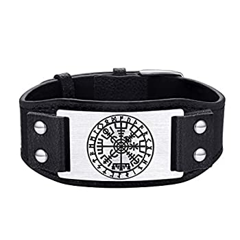 FaithHeart Norse Viking Jewelry Men Nordic Compass with Runes Leather Cuff Bracelet for Women Wrist Band for Man