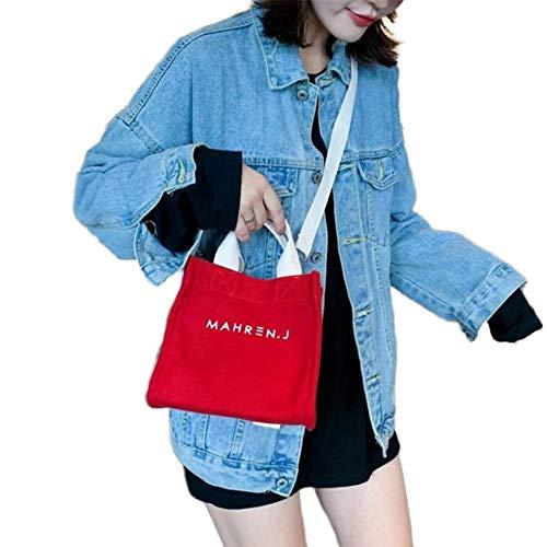 CVBN Bolso de Lona Bolso de Mensajero de un Hombro Bolso Cuadrado pequeño con asa para Mujer, Rojo
