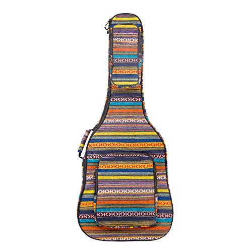 Glenmi 40 41 Zoll Akustikgitarrenkoffer Gigbag Mit 3D-Taschen, Gitarrentasche mit Nackenschutz-Kissenauflage, Bohemian Style Gitarrenkoffer, 12 mm Schwamm gepolstert