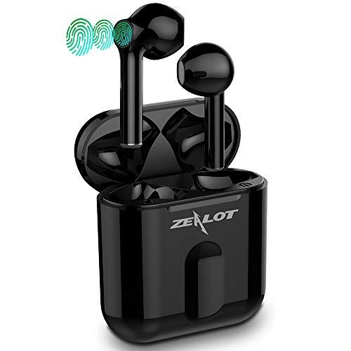 Auriculares Bluetooth, Auriculares Inalámbricos ZEALOT T2 Bluetooth 5.0 Sonido Estéreo Mini Twins In-Ear Auriculares con Caja de Carga y micrófono,Impermeable, Portátil(Negro)