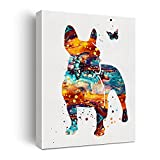 French Bulldog Watercolor Poster Canvas Wall Art for Home Decor - French Bulldog Canvas Print Wall Artwork Painting Ready to Hang Dog Lovers Gifts - Easel & Hanging Hook 12x15 Inch