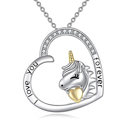 VONALA Collar con colgante de corazón de plata de ley 925, regalo para mujeres y niñas, Plata de ley 925 circón,