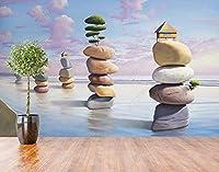 壁の壁画 壁紙 ウォールカバー 海辺の石造りの抽象家 壁画 壁紙 ベッドルーム リビングルーム ソファ テレビ 背景 壁 壁面装飾のための,430x300cm