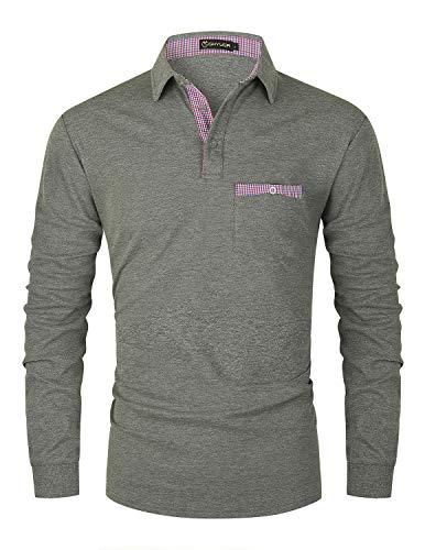 GHYUGR Polo Hombre Manga Larga Elegante Cuello a Cuadros Camiseta con Bolsillo Poloshirt Otoño Golf T-Shirt Trabajo Camisa,Gris,L
