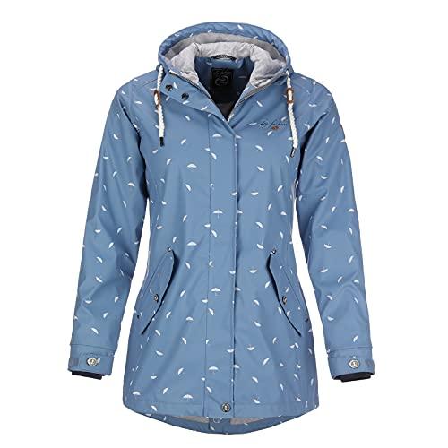 Dry Fashion Damen Regenmantel Wyk Funktionsmantel Parka, Größe:38, Farbe:blau